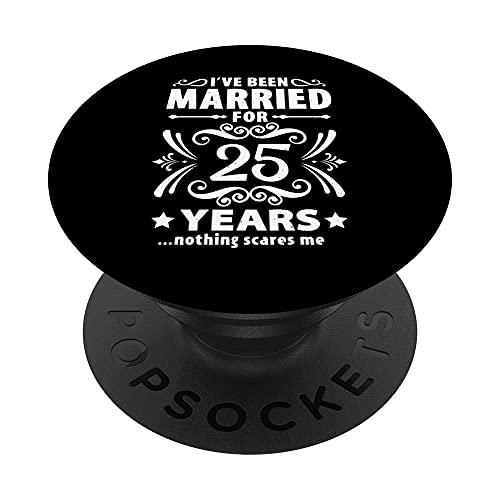 Parejas Casadas 25 Años - 25 Aniversario De Bodas Divertido PopSockets PopGrip: Agarre intercambiable para Teléfonos y Tabletas