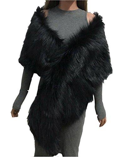 YuanDian Mujer Novia Boda Fiesta Estolas De Piel Sintetica Largo Otoño E Invierno Hombro Cruzado Grande Pelo Bolero Chal Capas para Vestido De Noche Negro Talla única