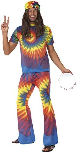Smiffys Haut teinté et pantalon évasé des années 60, multi couleurs M