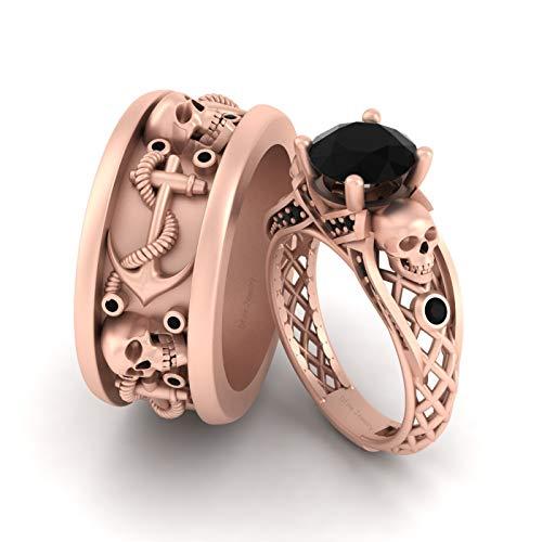 Juego de anillos de compromiso con calavera de diamante negro de imitación de 2,35 quilates de oro rosa sólido de 10 quilates con ancla náutica gótica y calaveras