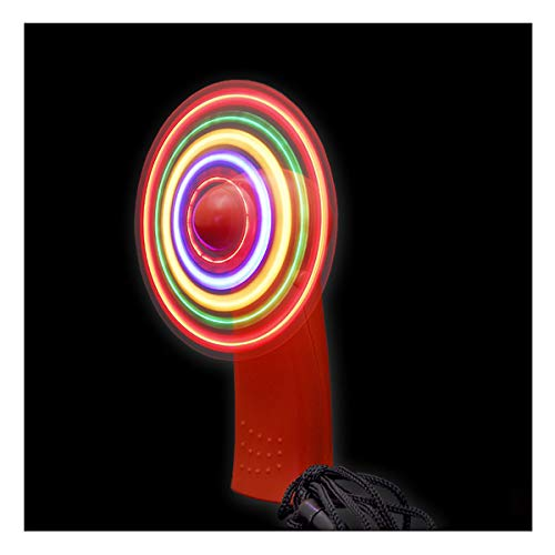 BLINXS LED Mini Ventilator / Handventilator - rotes Gehäuse - LEDs Multicolor Leuchtend - mit auswechselbaren Batterien für Party, Festival, Sommer oder als tolles Gadget
