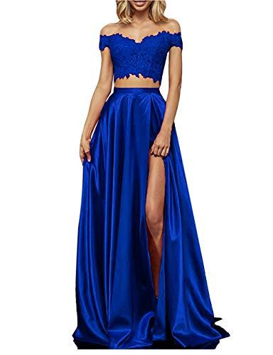 yinyyinhs Womens Two Piece Prom Dresses Long Off Shoulder Lace Satin Slit Formal Dress Royal Blue Size 16