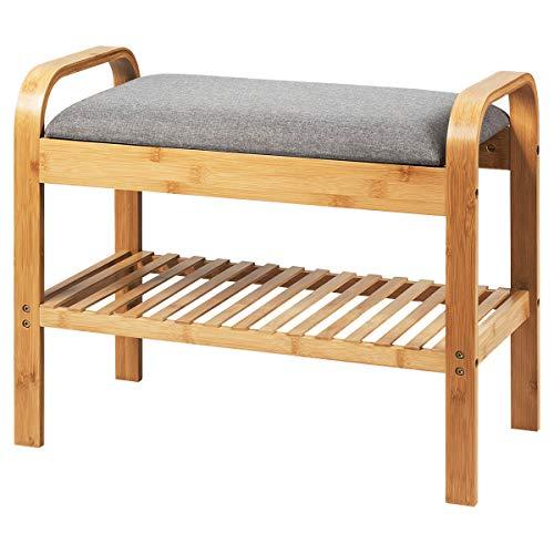 COSTWAY Schuhbank mit Sitzkissen Ablage, Schuhregal Tragkraft 150 kg, Sitzbank Bambus, Schuhschrank Polsterbank für Schlafzimmer, Wohnzimmer, Flur (60 x 33 x 50 cm)