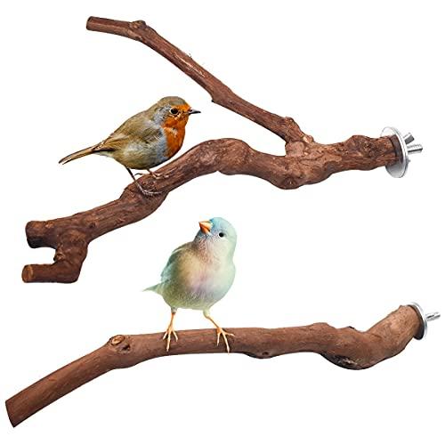 Yueser Perchas Naturales para Pájaros, 2 Piezas Madera de UVA Salvaje Percha de Madera Natural Bird Perchespara Loros de Pájaros Periquitos de Mascota Agapornis (2 Estilos)
