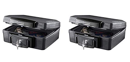 SentrySafe H0100 Fireproof Waterproof Box with Key Lock 0.17 Cubic Feet Black (Pack of 2)
