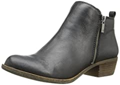Suede bootie Low, casual ankle boot with dual zippers at sides,Upper suede leather, synthetic lining, stacked heel and rubber outsole. Easy-on heel loop Stacked block heel Metal zippers. 1.2 inch heel height