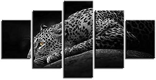 ventas en linea BAIF 5 Piezas de Pintura de la Lona decoración decoración decoración para el hogar Moderno para la Parojo de la Sala de Estar 5 Piezas de Animales Tiger Leopard Pinturas de la Lona Modular HD D imágenes de Arte Marco  comprar nuevo barato