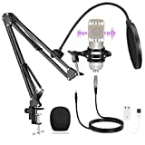 XLR Condenser Microphone Kit Professional Podcast Mic with Adjustable Stand, Shock Mount and Pop Filter for Streaming/Recording/Gaming Studio/YouTube Video