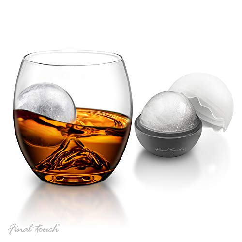 Final Touch On the Rocks Glas & IJsbal mal | Novelty Whiskey Tumbler, Scotch Rocks Glass