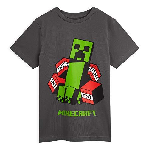 Minecraft T Shirt Jungen, Tshirt Kinder Grau Creeper Figuren, Baumwolle Shirt Kinder Teenager, Original Merchandise, Einschulung Geschenk (9-10 Jahre)