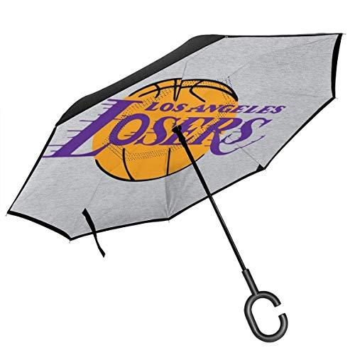 shihuainingxiance Los Angeles-Verlierer-Basketball-Parodie-Doppelschicht-umgekehrter Regenschirm für das Auto-Rückseiten-Falten umgedreht C-förmige Hände - Leichtgewichtler u. Winddicht u. Ndash