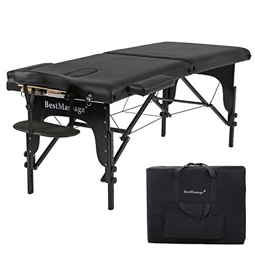 Massage Table Portable Massage Bed Spa Bed 73 Inches Height Adjustable PU Massage Table W/Carry Case Memory Foam Layer 2 Folding Massage Spa Bed Facial Cradle Salon Bed