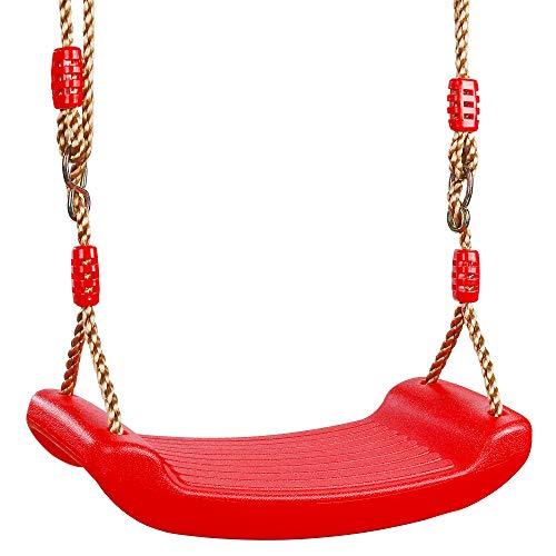 MengH-SHOP Columpio Asiento de Plástico Columpio Jardín Árbol Patio Columpio Infantil Niños Bebe con Cuerda Regulables Exterior Interior Rojo