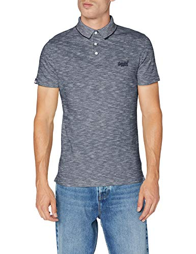 Superdry Herren ORANGE Label Jersey Polo Poloshirt, Grau (Navy Feeder 0VL), Medium