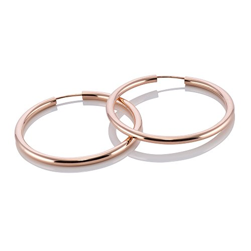 MATERIA Damen Kinder Creolen Rosegold Ohrringe vergoldet dünn klein 25mm #SO-366