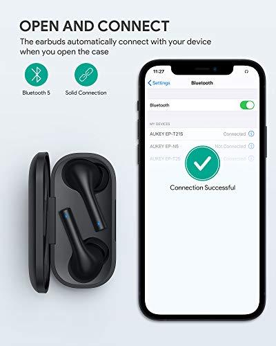 AUKEY Cuffie Bluetooth 5 Auricolari Senza Fili Microfoni Integrati Cuffie In-Ear Controllo Touch 30 Ore di Autonomia, Impermeabile IPX6, Ricarica Rapida USB-C