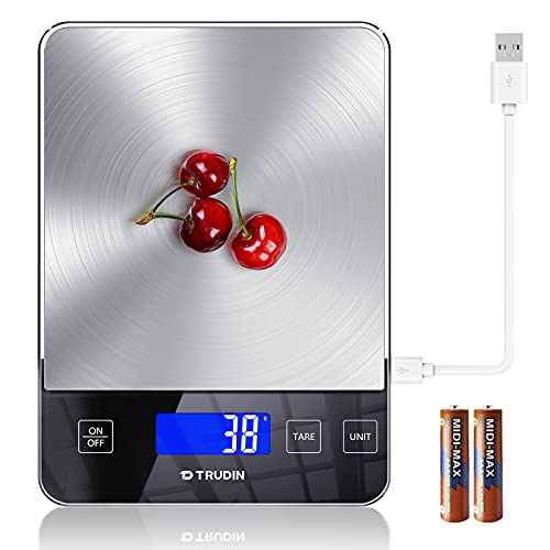 [ NASA-Grade ] Food Scale, [ Bread Meat Cookies Measures Friendly ] Digital Weight Grams and Ounces for Baking Cooking , Kitchen Scale with 5 Units ,Tare Function and Large LED Display ,USB Charging