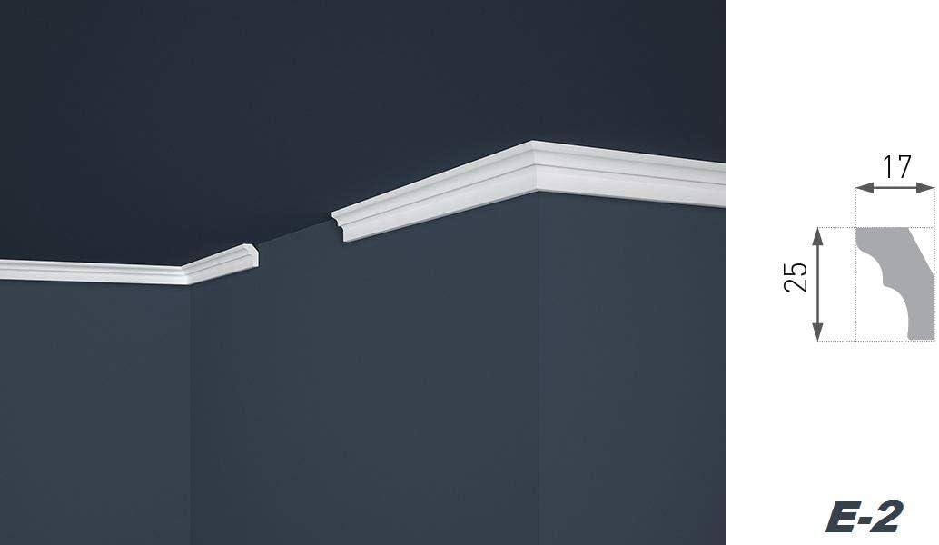 leicht und stabil Decken-// und Wand/übergang extrudiertes Styropor Stuckprofile modern wei/ß dekorativ 10 Meter Zierleisten Sparpaket E-2 17 x 25 mm XPS