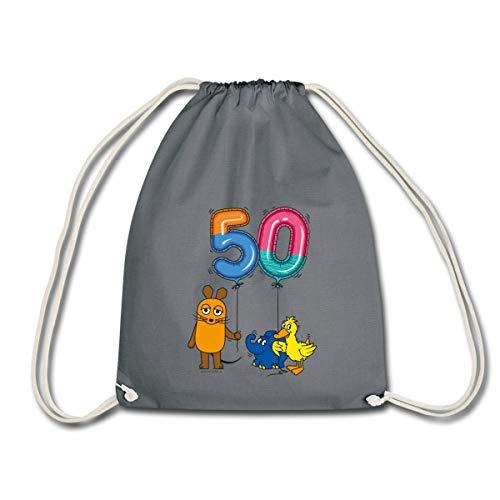 Spreadshirt Die Sendung Mit Der Maus 50 Jahre Jubiläum Luftballons Turnbeutel, Grau