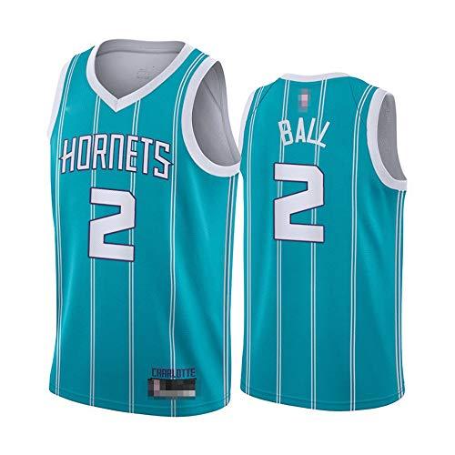 Jerseys De Baloncesto para Hombres, NBA Charlotte Hornets # 2 Lonzo Ball - Comodidad Clásica Transpirable Quick-Secking Sin Mangas Vestidos Tops Camiseta Uniformes,Azul,L(175~180CM)