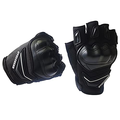 LVNRIDS Guantes sin Dedos de Motocicleta de Verano, Guantes de conducción de Carreras de Motocross Protectora para Hombres Mujeres Negro M