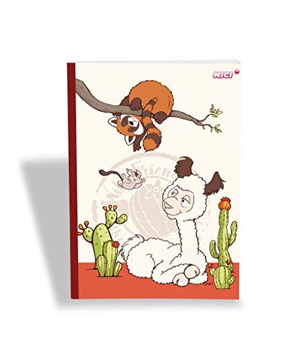 NICI 42312 Notizbuch Wild Friends kariert, DIN A4, bunt