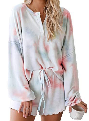 BTFBM Women Pajamas Tie Dye Print Long Sleeve Shirt Elastic Drawstring Shorts Pant PJ Set Sleepwear Loungewear Nightgown (A-Orange, Medium)