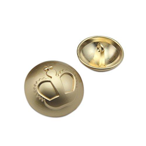 British metal dorado botón de perchero de pared de chaqueta de botones con corona patrón DIY costura suministros 12piezas, dorado, 18 mm