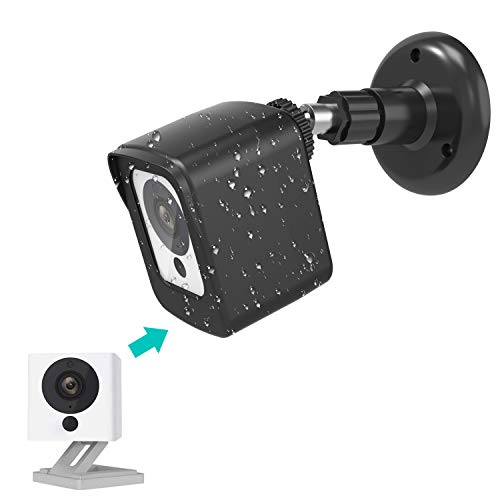 Wyze Cam Camera Wall Mount Bracket, COOWUFAN Weather Proof 360 Degree Protective Adjustable Housing Mount and Cover for Wyze Cam V2 V1 and Ismart Spot Camera Indoor Outdoor (Black(1 Pack))