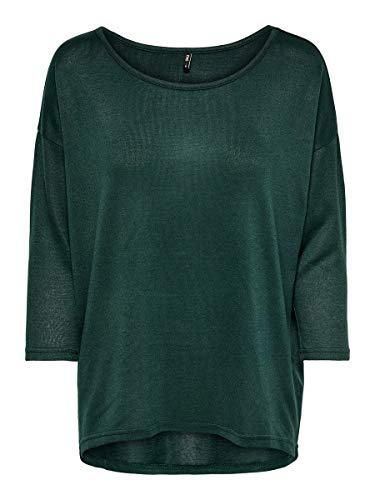 Only ONLELCOS 4/5 Solid Top JRS Noos Camisa Manga Larga, Verde (Green Gables Detail:Melange), 38 (Talla del Fabricante: Small) para Mujer