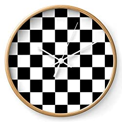 Society6 Checkerboard by Color Obsession on Wall Clock - Natural - White