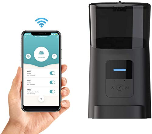 Momo's Choice Distributore automatico Wi-Fi di cibo per cani e gatti, Programmazione orari e dosi dei pasti. Controllo remoto da APP, Avviso voce registrata all'uscita dei croccantini (Nero)