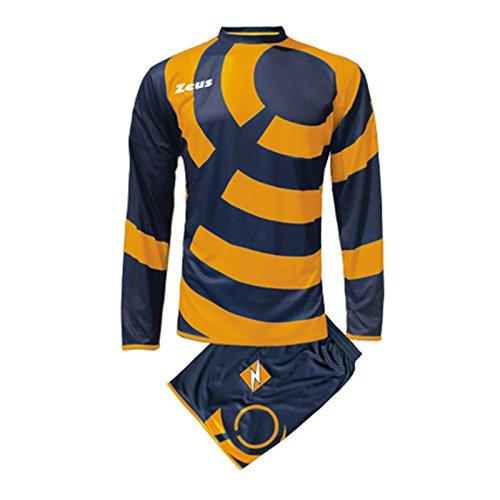 Zeus Herren Kinder Set Trikot Shirt Hosen Klein Armel Kit Fußball Hallenfußball KIT Ring BLAU ORANGE (XL)