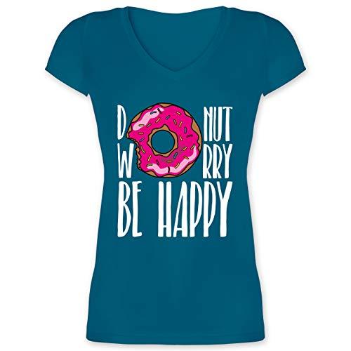 Sprüche - Donut Worry - weiß - XS - Türkis - F281N_Damen_Kurzarm_Vneck - XO1525 - Damen T-Shirt mit V-Ausschnitt