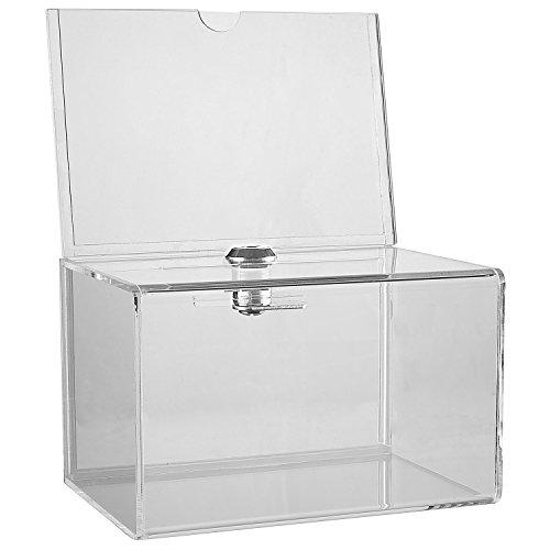 My Charity Boxes, Inc. MCB–acrilico trasparente donazione Collection box con serratura–Small–con 4–6display