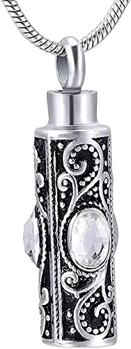 BEISUOSIBYW Co.,Ltd Collar Creativo Negro Cenizas Vid Mosaico Zirconita Blanco Punk Urna Collares Cenizas Souvenir Colgante Embudo Kit para Mamá Papá Mujeres Hombres Perro Gato Collar