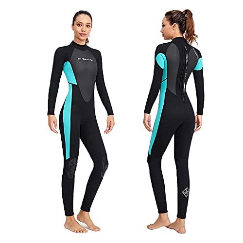 TBNOONE Traje de Traje de baño de una Pieza de Neopreno de 3 mm para Las Mujeres Traje de baño de Longitud Completa Espesar un Traje de Buceo Caliente para Surfear Buceo de Snorkeling, M