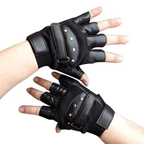 Hommes Extérieur Demi Gants Gants Doigts En Spécial Style Cuir Gants De Conduite Sans Doigt Gants De Moto (Color : Noir, Size : One Size)