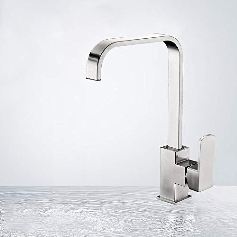 HIZLJJ Kupfer Dish Sink Küchenarmatur High Arc Swivel Auslauf, verchromt, bleifreier Aufbau, Doppeleinloch alle Kupfer Küchenarmatur hei und kalt
