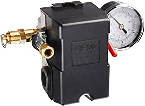 26 AMP H/D PRESSURE SWITCH AIR COMPRESSOR 145-175 4 PORT w/0-200 psi Gauge & 200 psi Pop off valve