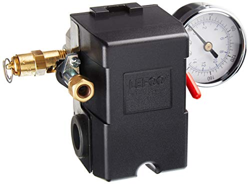 26 AMP H/D PRESSURE SWITCH AIR COMPRESSOR 145-175 4 PORT w/0-200 psi Gauge & 200 psi Pop off valve