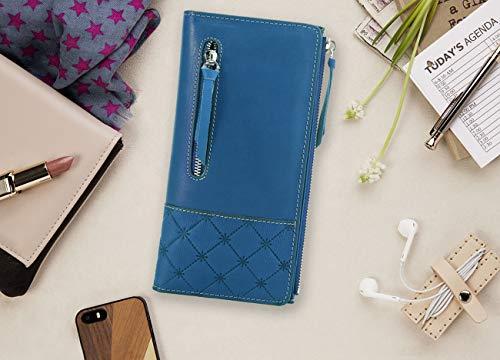AINIMOER Luxury Large Women's Leather Long Zipper Wallet ladies Clutch Purse 3