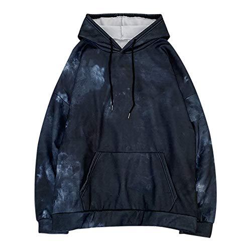 WYZTLNMA Winter Autumn Women Tie-Dye Hoodie Sweatshirt Loose Oversized Hoodie Long-Sleeve Ladies Sweatshirts Pullovers Tops Blue