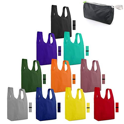 Reusable Grocery Bags Washable Foldable Colorful 10 Pack with Elastic Zipper Bags Extra Large 50LBS Folding Shopping Bags Lightweight Durable Fun Gift Tote Bags Polyester
