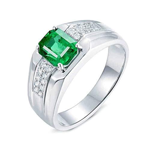 Beydodo Anillo Hombre,Anillos de Oro Blanco 18K Hombre Plata Verde Rectángulo Esmeralda Verde 1.89ct Diamante 0.2ct Talla 16(Circuferencia 56MM)