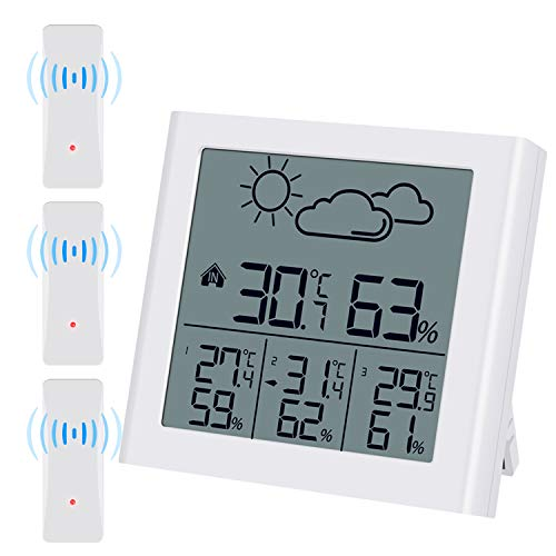 (Upgraded) Brifit Indoor Outdoor Thermometer with 3 Wireless Sensors, Weather Forecast, Humidity...