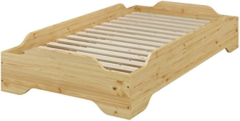 Erst-Holz Stapelbett, Jugend Bett, Designer Bett 90x200 Massivholz Kiefer mit Rollrost 60.56-09
