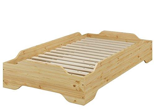 Erst-Holz® Stapelbett, Holzbett, Studentenbett, Gästebett 80x200 Massivholz Kiefer mit Rollrost 60.56-08