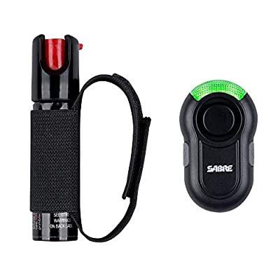 SABRE RED Pepper Gel Spray for Runners – Gel is Safer – Maximum Police Strength OC Spray, Adjustable Hand Strap for Quick Access while Running – Optional Clip-on 120dB Personal Alarm w/ LED Light