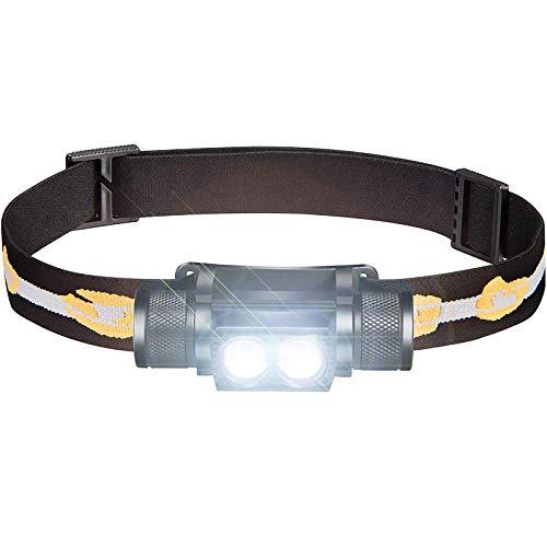 ALFLASH Wiederaufladbare CREE LED Stirnlampe Wasserdicht Super Bright USB Kopflampe Leichte Stirnlampe 5 Modi Scheinwerfer für Radfahren Laufen Camping Wandern Angeln (Double)